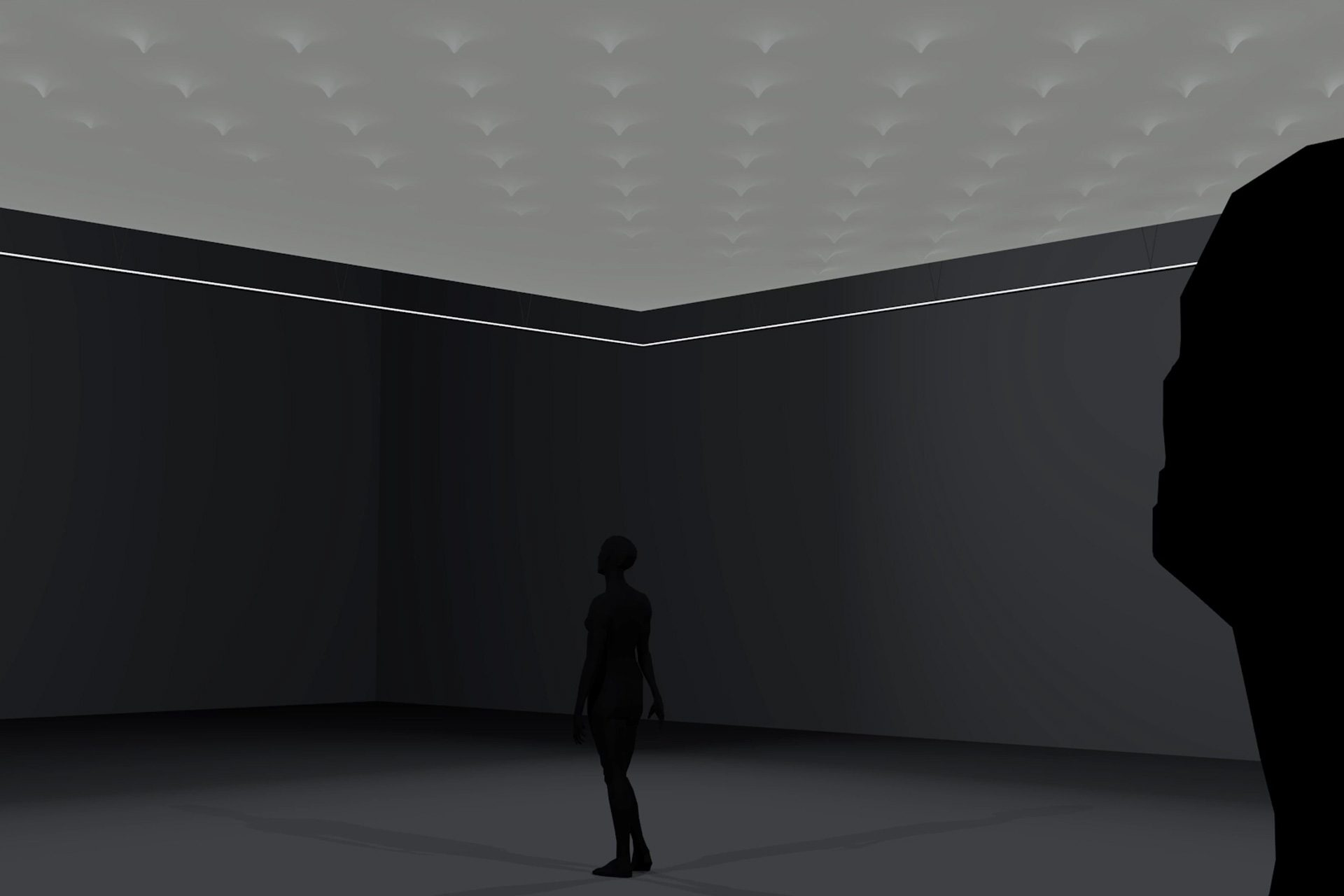 In-situ: 10 x 10 meter kinetic ceiling with 144 actuators and plain lighting