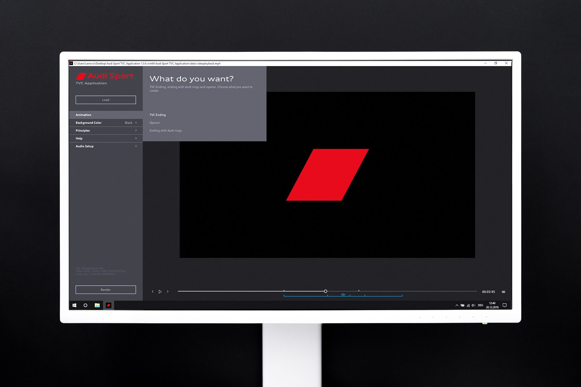 Audi Sport TVC application for Windows