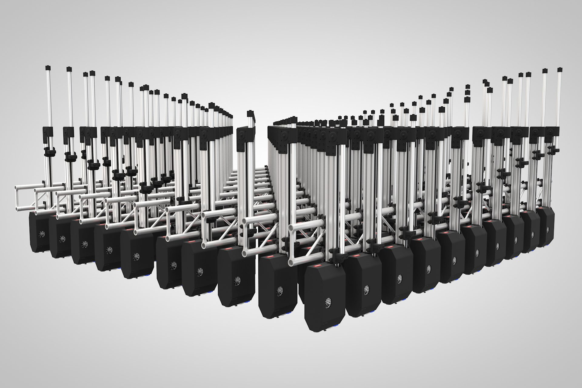 Renderings with an array of 100 DMX Linear Actuators